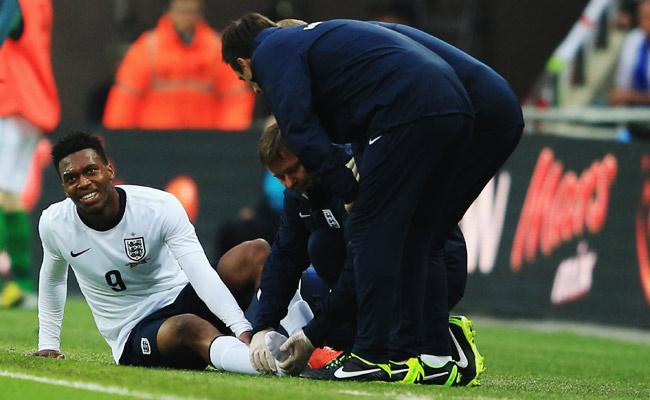 Daniel Sturridge suffered a high ankle sprain during England's friendly against Ireland.