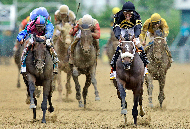 Orb (center, rear) finished fourth in the Preakness Stakes, dashing all hopes for a Triple Crown run.