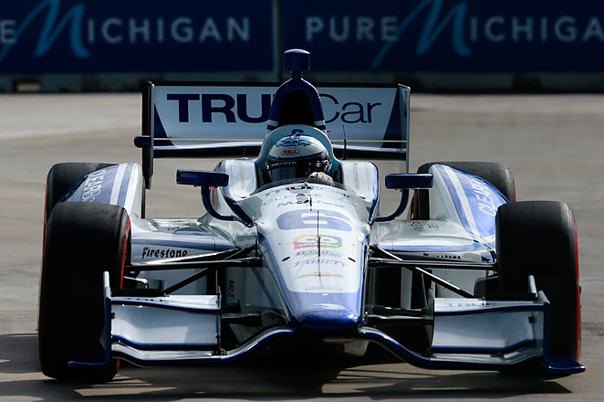 Sebastian Saavedra was fined $30,000 for his obscene gesture towards Marco Andretti in Detroit.