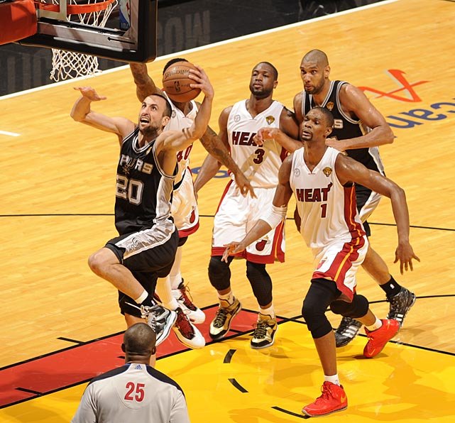 Manu Ginobili outraced the Heat for two of his 13 points.