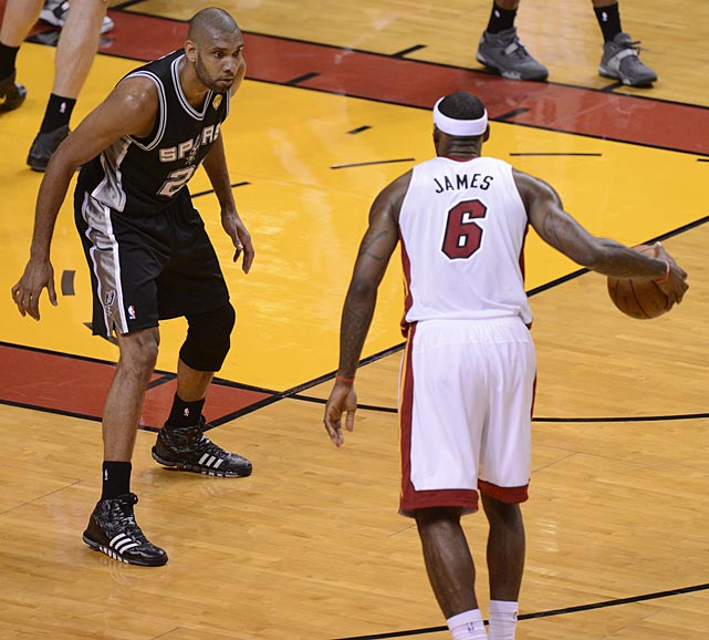 The Spurs used Kawhi Leonard on James for most of the night, but Duncan took on LeBron on occasion.