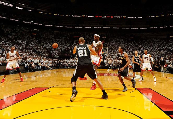 Despite a triple double, LeBron James found few avenues to the basket against the Spurs defense.