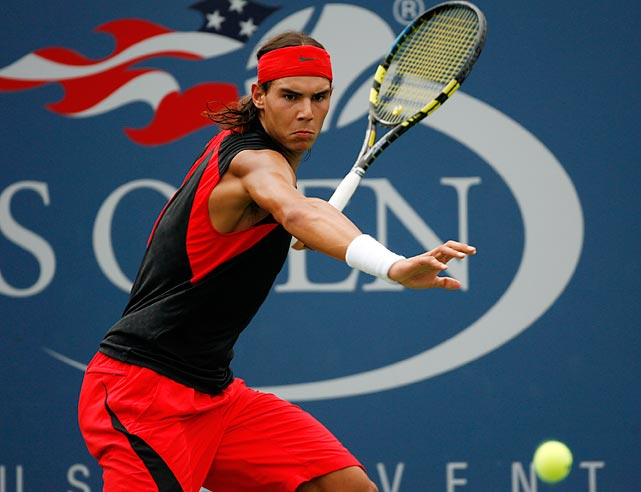 Headband, no sleeves, bulging biceps. Vintage Nadal.
