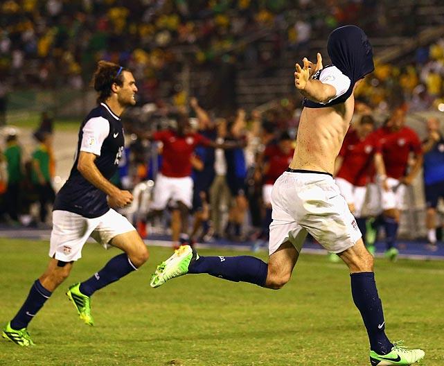 Brad Evans celebrates after scoring the game-winning goal.