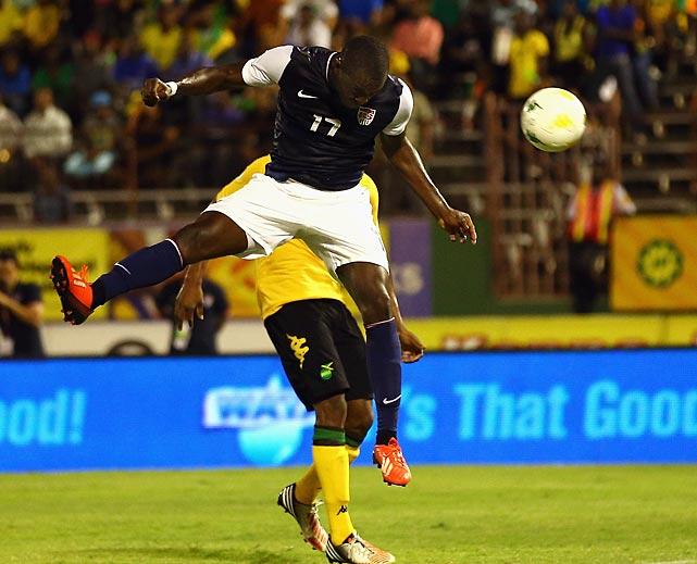 Jozy Altidore scores a goal against Jamaica.
