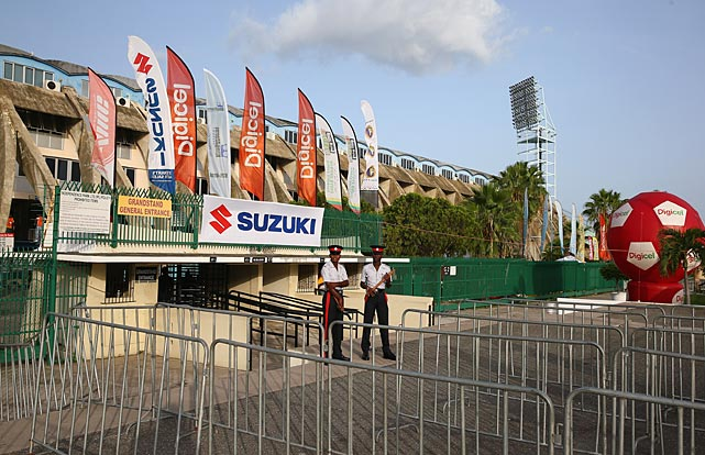 A view of some of the security outside the stadium before the U.S. took on Jamaica.