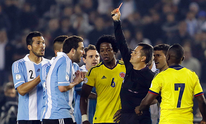 Gonzalo Higuain and Colombia's Christian Zapata were both sent off for kicking out at one another in the first half.