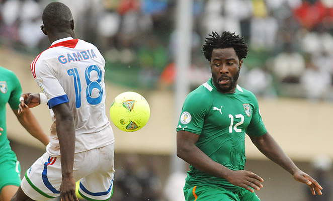 Ivory Coast striker Wilifried Bony scored his seventh international goal against Gambia on Saturday.