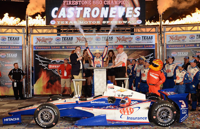 Helio Castroneves led the final 132 laps to secure his first IndyCar win of the season.