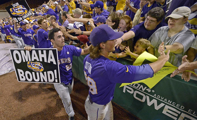 LSU downed Oklahoma to reach the College World Series for the 16th time in school history.