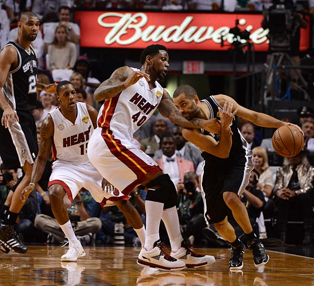 The Heat threw an array of defenders at Tony Parker, who finished with only 13 points.