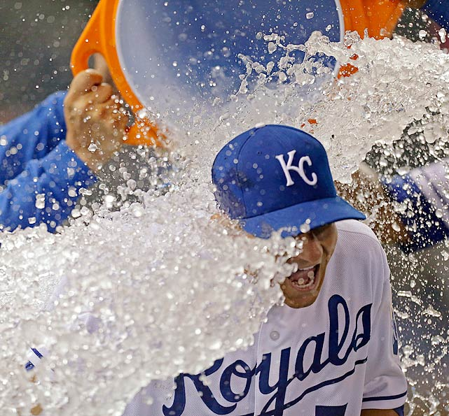 David Lough is doused by teammates following the Royals 4-1 win over the Twins. Lough went 2-for-4 with 2 RBI in the game.