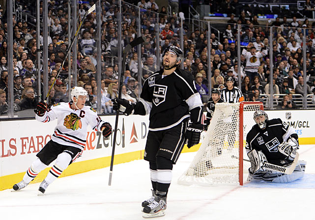 In the first game of the season, against the defending Stanley Cup champion Kings at the Staples Center in Los Angeles, the Blackhawks spoiled the banner-raising party by scoring four goals in the game's first 22 minutes en route to a 5-2 win. The next night, against Phoenix, they exacted a measure of revenge for last season's playoff ouster by beating the Coyotes, 6-4.