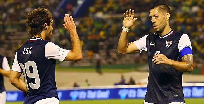 Graham Zusi, Clint Dempsey and the U.S. beat Jamaica 2-1 in Kingston on Friday.
