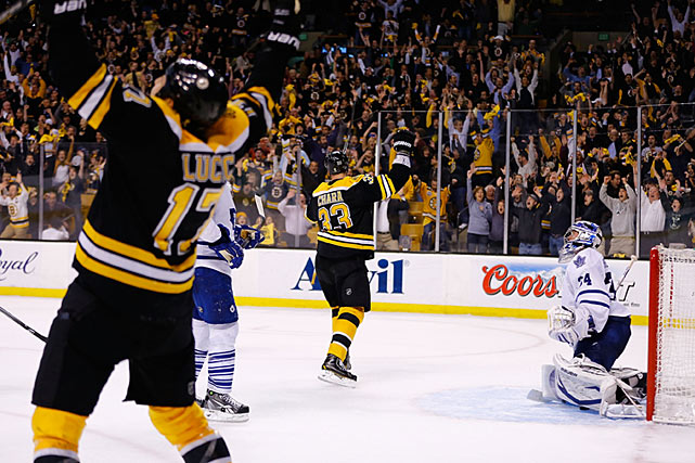 The Bruins pull off a historic comeback, rallying from three goals down in the final 11:42 to beat the Maple Leafs in Game 7 at TD Garden on May 13. Nathan Horton scores to pull Boston withing two. Then, with Tuukka Rask on the bench, Milan Lucic scores on the doorstep with 1:22 to play and Patrice Bergeron blasts the tying goal from 45 feet out through Zdeno Chara's screen with 51 seconds left. Bergeron completes the comeback at 6:05 of OT, beating stunned goaltender James Reimer.