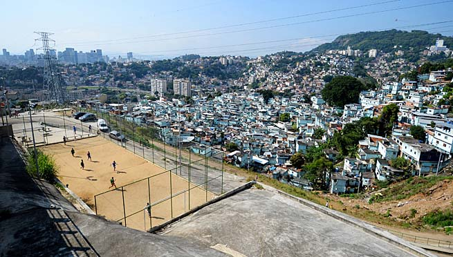 Children play pickup soccer in one of Brazil's favelas, or urban slum areas.