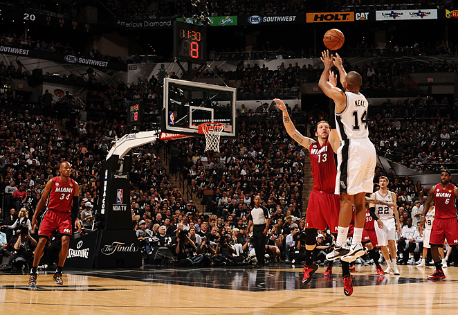 Gary Neal helped fuel an attack that saw the Spurs hit an NBA-Finals record 16 threes in a Game 3 win.