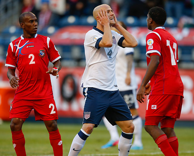 U.S. midfielder Michael Bradley reacts after a missed shot.