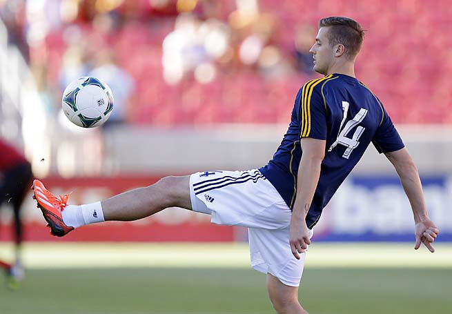 Robbie Rogers warms up before the Galaxy's match with Real Salt Lake on Saturday.