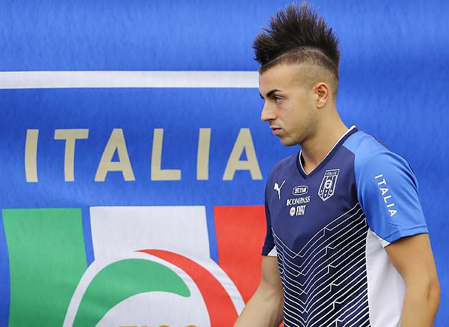 Stephen El Shaarawy arrives prior to the start of a training session at the Joao Havelange stadium in Rio de Janeiro.