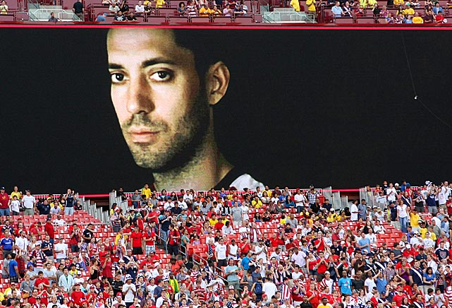Dempsey appears on the video screen prior to the United States' match vs. Brazil.