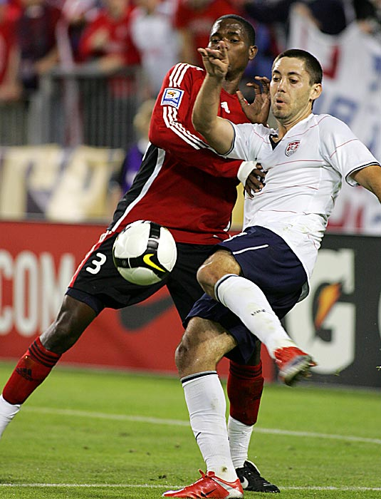 Dempsey began to assume a more vital role with the U.S. Men's National Team in 2009. He fights for a ball with Akile Edwards as the U.S. defeated Trinidad and Tobago, 3-0, in Nashville in a 2010 FIFA World Cup Qualifier.