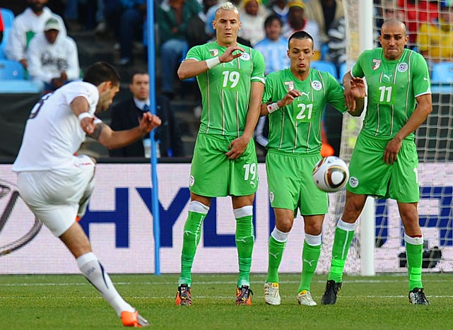 Dempsey fires a free kick against Algeria in the United States' final match of group play.