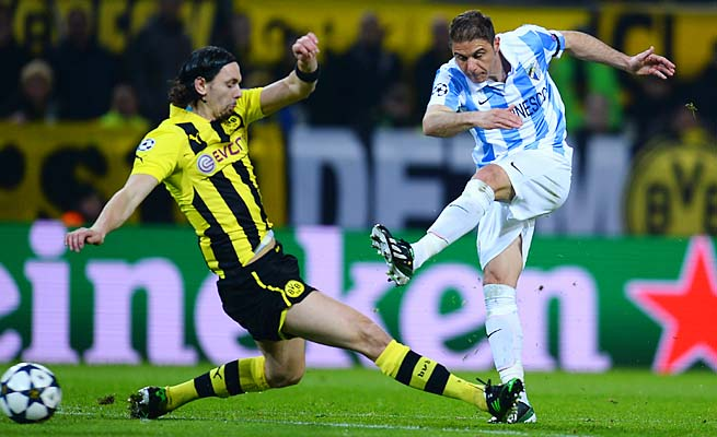 Joaquin and Malaga reached the Champions League quarterfinals, falling to Dortmund.