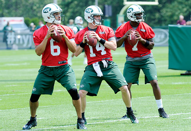 Mark Sanchez faces competition for his starting QB job from Greg McElroy and rookie Geno Smith