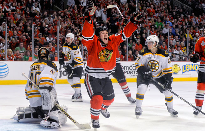 Andrew Shaw deflected the game-winner into the net to give Chicago a 1-0 Stanley Cup Final lead.