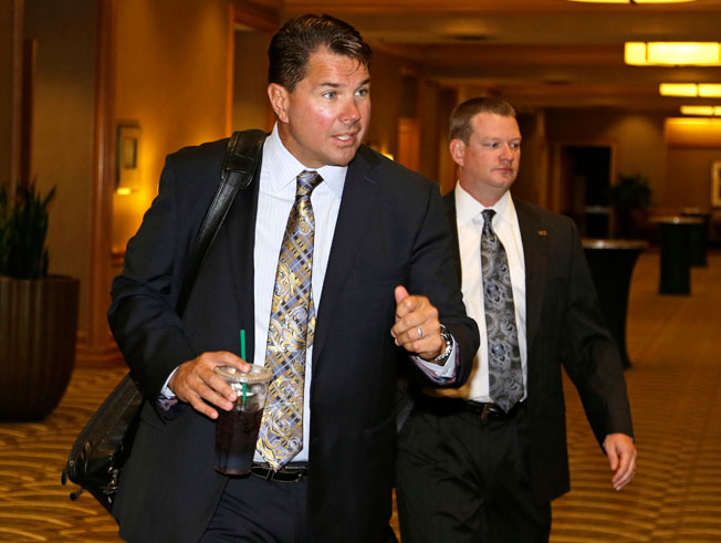 Al Golden was one of several Miami officials on hand as the NCAA opened its hearing vs. the university.