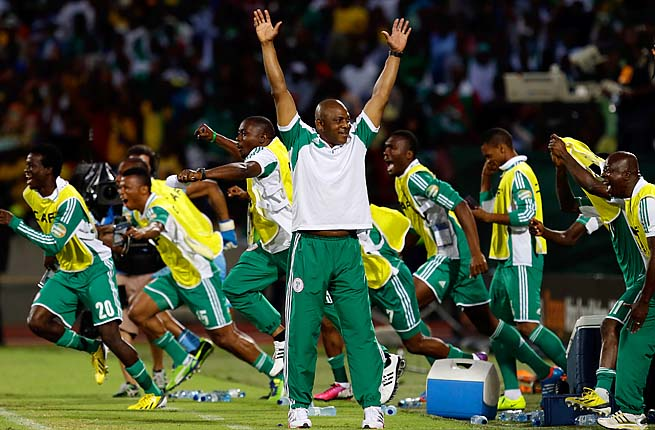 Nigeria celebrates winning the African Cup of Nations in February.