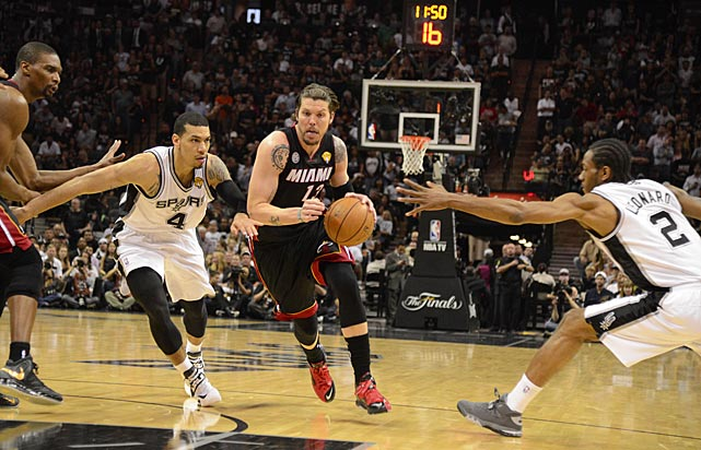 Kawhi Leonard and Danny Green try to keep Mike Miller in check.