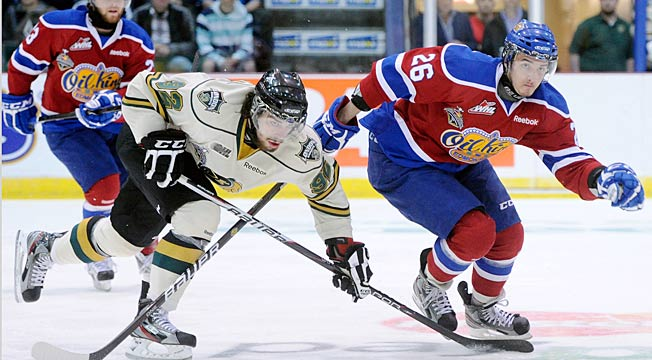 Winger Krisitans Peiss (right) was taken by the Oilers in the seventh round of the 2010 NHL Draft.