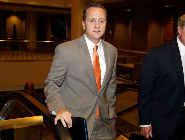 Miami athletic director Blake James arrived to the NCAA Committee of Infractions hearing on Thursday.