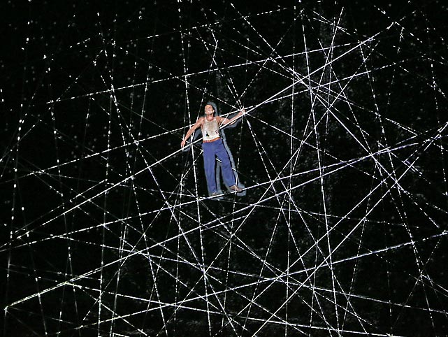 Monkey business: thespian Chris Ryan scales a giant spider web on Skull Island, which is actually located at the Regent Theatre in Melbourne, Australia. Based on the novel of the 1933 screenplay, and five years in the making, the new musical had its world premiere on June 15. No word if the critics went ape over it.