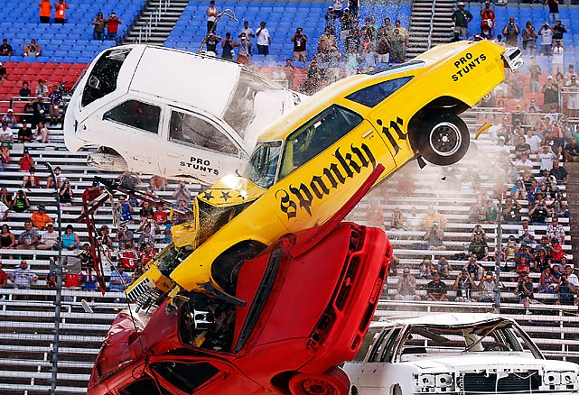 The famed stunt driver demonstrated the fine art of the pileup during The Wild Asphalt Circus Ultimate Daredevil Jump, which was held just before IndyCars took their crack-up at it in the Firestone 550 at Texas Motor Speedway.