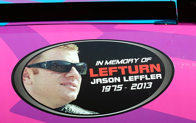 Travis Pastrana's car sports a tribute to Jason Leffler during Nationwide Series practice at Michigan.