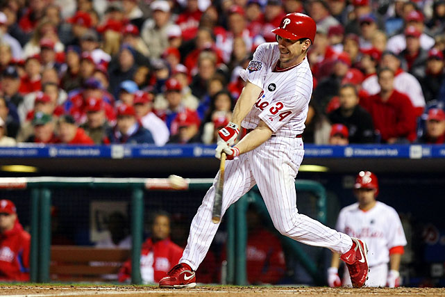 Lee singles against the Yankees in Game 5 of the World Series.