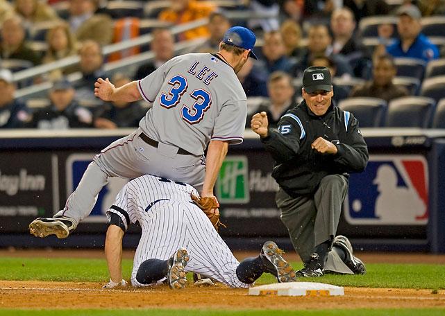 Lee beats Yankee Brett Gardner to the bag in Game 3 of the ALCS.