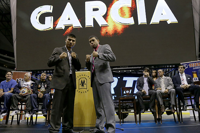 Mikey Garcia (L) will still face Juan Lopez on Saturday, but the title will be vacant if Garcia wins.