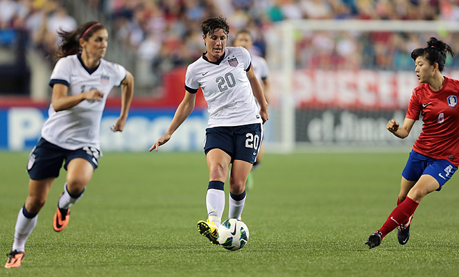 Abby Wambach scored her 156th international goal against South Korea, two behind Mia Hamm.