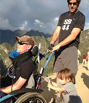 Steve Gleason, son Rivers and former Saints teammate Scott Fujita traveling in Machu Picchu.