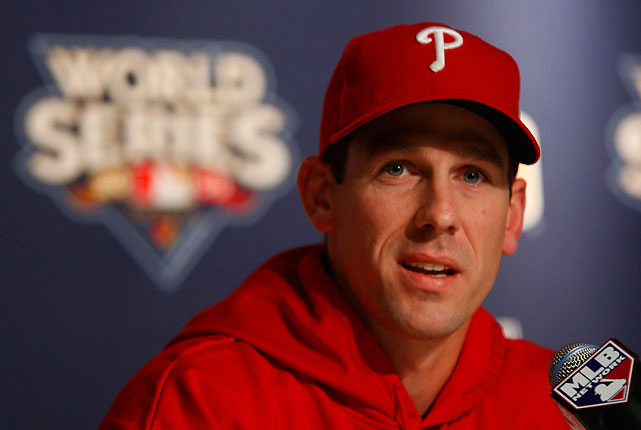 Lee answers questions in a press conference the day before the World Series starts. As Philadelphia's ace, Lee pitched the first game, facing former teammate C.C. Sabathia.