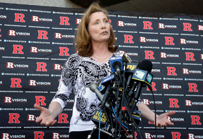 Julie Hermann, who replaced Tim Pernetti, started her first full day as Rutgers' athletic director Monday.