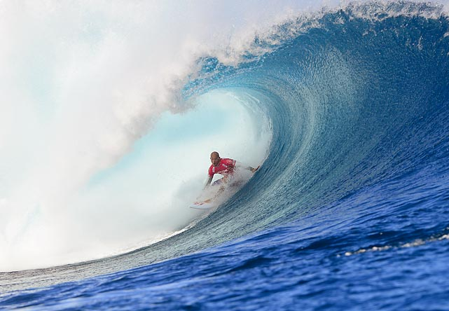 Kelly Slater cuts through a wave en route to his win at the Volcom Pro Fiji in Tavarua, Fiji. Slater has since reassumed his number one world ranking.