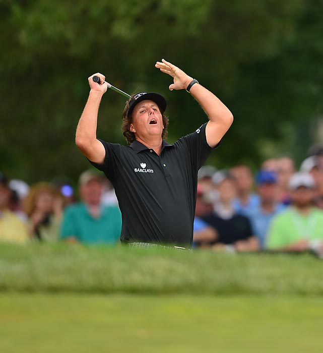 Phil Mickelson reacts to a shot during Round 4 of the U.S. Open. Lefty finished tied for second place at three over par -- his sixth runner-up finish at the Open.