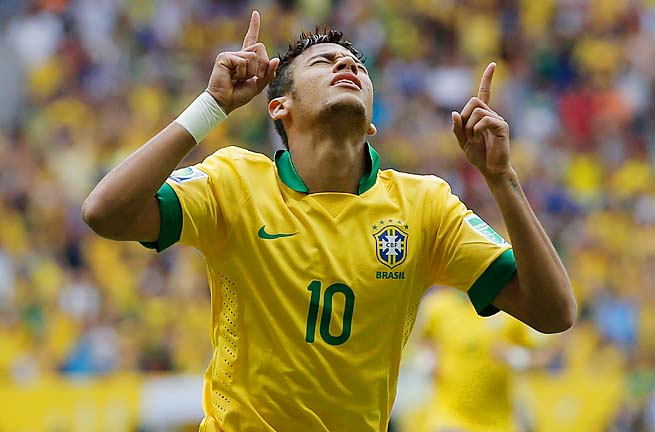 Neymar scored three minutes into the Confederations Cup.