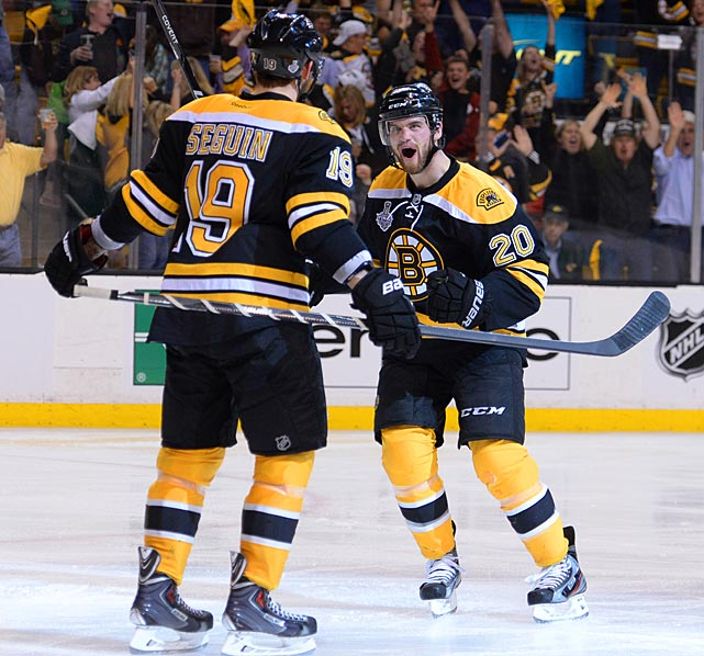 Boston's Daniel Paille (20) celebrates with Tyler Seguin after Paille's goal gave the Bruins a 1-0 lead 2:13 into the second period. It made Paille only the second player in the last 17 years to be credited with the decisive tallies in two consecutive Stanley Cup Final games. His overtime score in Game 2 had sent the best-of-seven series back to Boston even at 1-1.