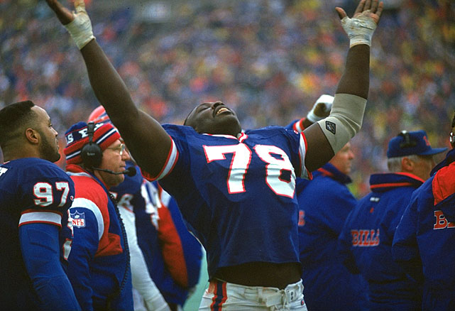 Smith celebrates during the AFC Championship game against the Broncos. Smith had a sack as the Bills won, 10-7.